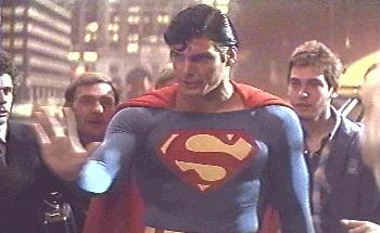 Superman tells the crowd to stand back